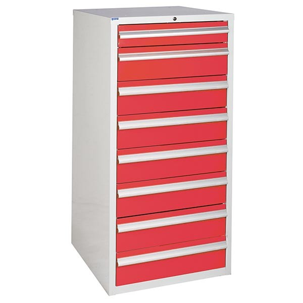 8 Drawer Euroslide Cabinet - 1 x 100mm + 7 x 150mm drawers - Red