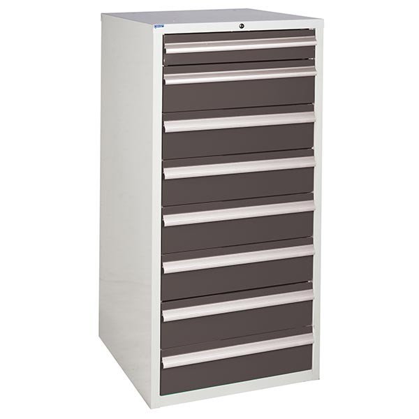 8 Drawer Euroslide Cabinet - 1 x 100mm + 7 x 150mm drawers - Grey