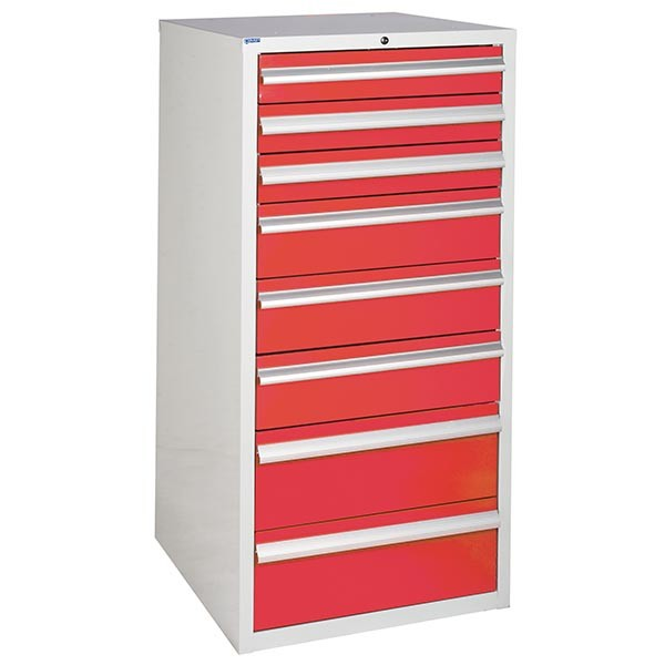 8 Drawer Euroslide Cabinet - 3 x 100mm + 3 x 150mm + 2 x 200mm drawers - Red