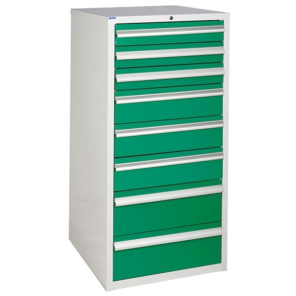 8 Drawer Euroslide Cabinet - 3 x 100mm + 3 x 150mm + 2 x 200mm drawers - Green