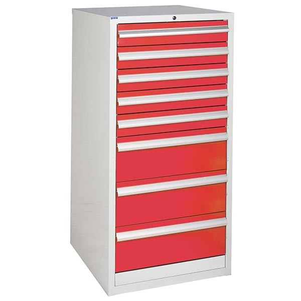 8 Drawer Euroslide Cabinet - 5 x 100mm + 3 x 200mm drawers - Red