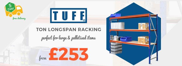 Shop TUFF Ton Premium Longspan Shelving from £253 per bay