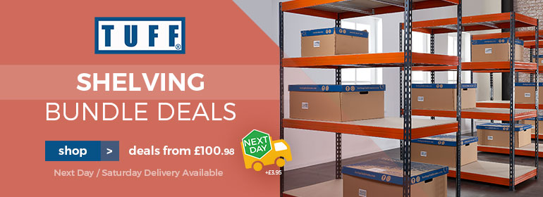 Garage Storage solved with our TUFF Shelving Bundle Deals from £100.98