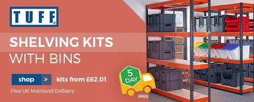 Shop TUFF Shelving Kits with bins
